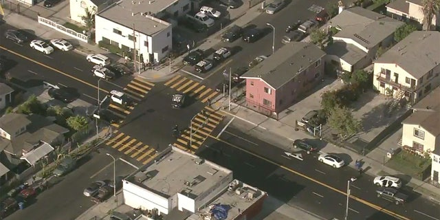 """<strong>Aerial images above the scene show multiple police vehicles present at the San Francisco intersection where a double stabbing took place. (FOX 2 Bay Area)</strong>""""></picture></div> <div class="""